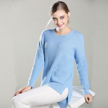 2017 New 100% Pure Cashmere TOP quality Knitted O Neck Pullovers Long front rear pocket Ladies thick sweaters for women lady's