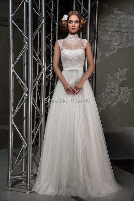 Vintage High Neckline Wedding Dresses Bridal Gown Lace Ethereal Tulle Dress Robe De