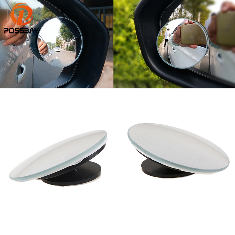 POSSBAY Blind Spot Mirror Car Rear View Side Mirrors 360 Degree Frameless Wide Angle Round Blind Spot Rearview Mirror