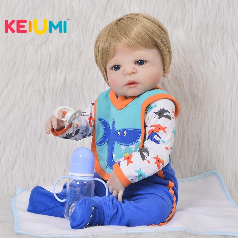 KEIUMI Lifelike 23 Full Silicone Vinyl Boneca Reborn Doll 23 Gold Hair Ethnic Reborn Baby Doll