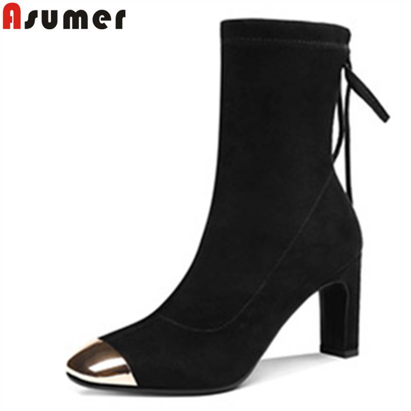 ASUMER black fashion autumn winter boots square toe cross tied high heels ladies boots elegant flock over the knee boots morazora autumn winter new arrive women boots pointed toe zipper flock ladies boots square heel cross tied over the knee boots