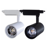 Free Shippping COB 30W LED Track light AC110 240V Track Lighting Retail Spot Wall Lamp Rail Spotlights White/Black Color