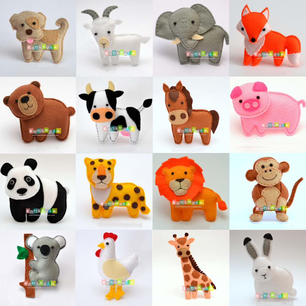 Small Animal Doll Felt Kit Non-woven Cloth Craft DIY Sewing Set Felt Handwork Material DIY Needlework Supplies