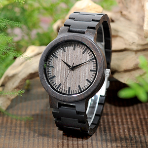 Image 2 - BOBO BIRD Mens Black Ebony Wooden Watch with Wooden Watch Male Strap Quartz Analog kol saati Luxury Dial Diameter Custom logo