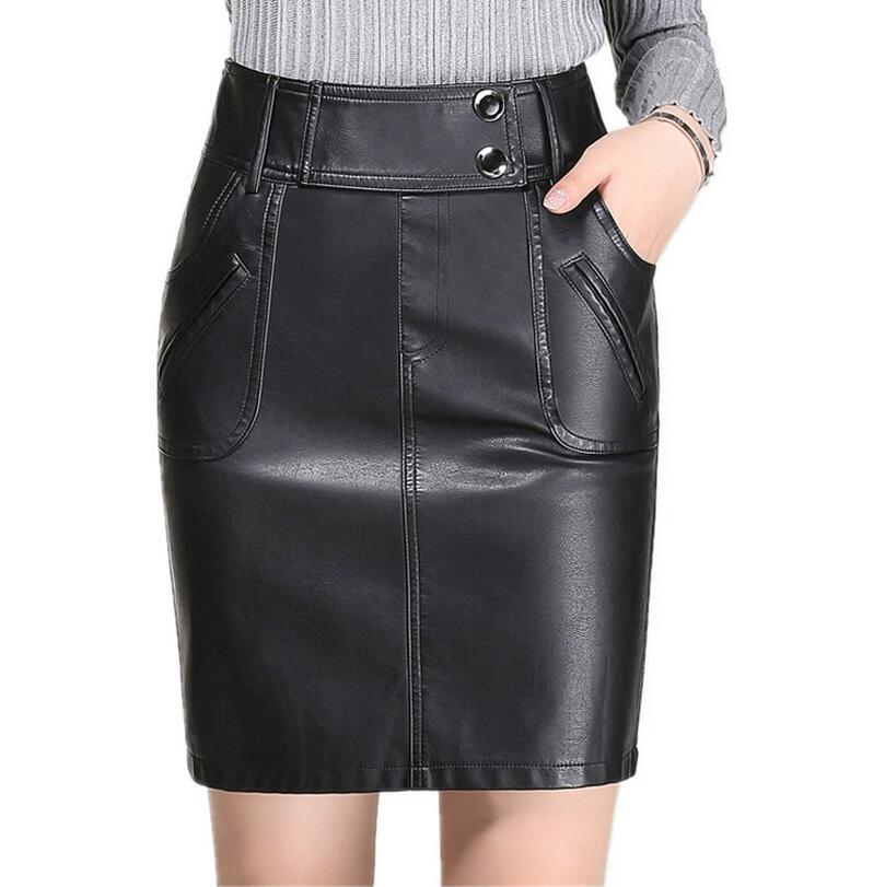 M~4XL 2018 Autumn Winter New Elegant Sexy Bodycon Black PU Leather High Waisted Women Pencil Skirt s976