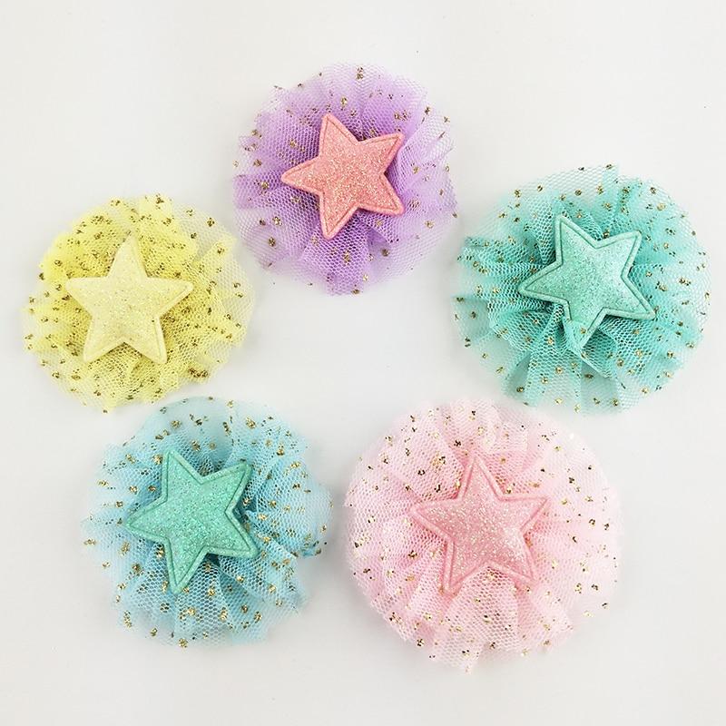 6 см 20 шт./лот DIY ручной работы блестящие звезды украшенный цветами аппликация для детей заколки для волос интимные аксессуары