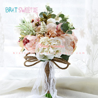 Bridal Bouquet Real Touch Artificial Flower Roses Peony Leaves Fake Wedding Flowers Bouquet Home Decoration Accessories