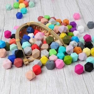 Image 1 - TYRY.HU anneau de dentition en Silicone, 100 pièces, lot, perles hexagonales 14mm, bébé DIY, jouet outil de soins, collier sucette chaîne