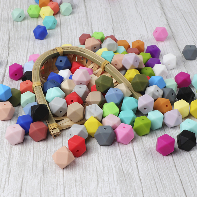 TYRY.HU anneau de dentition en Silicone, 100 pièces, lot, perles hexagonales 14mm, bébé DIY, jouet outil de soins, collier sucette chaîne