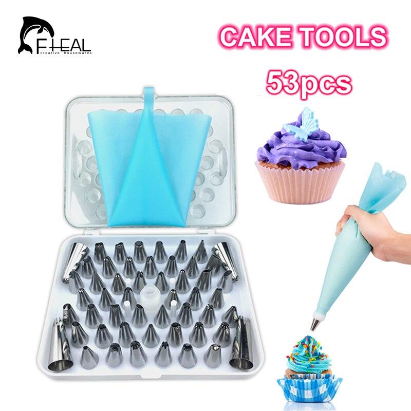 FHEAL 53 pz/set Silicone Icing Piping Crema Pasticcera Bag In Acciaio Inox Set di Ugelli Della Torta di DIY Che Decora Attrezzo di Cottura Bakeware