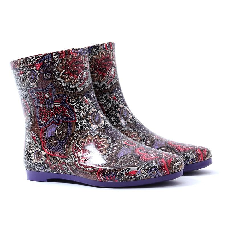 Galoshes Rain Boots Women Rubber Waterproof 2017 Fashion Ankle Rainboots Gummistiefel Female Water Shoes Anti-slip Botas Mujer cactus cs r ept0925 color комплект картриджей для epson stylus c91 cx4300 t26