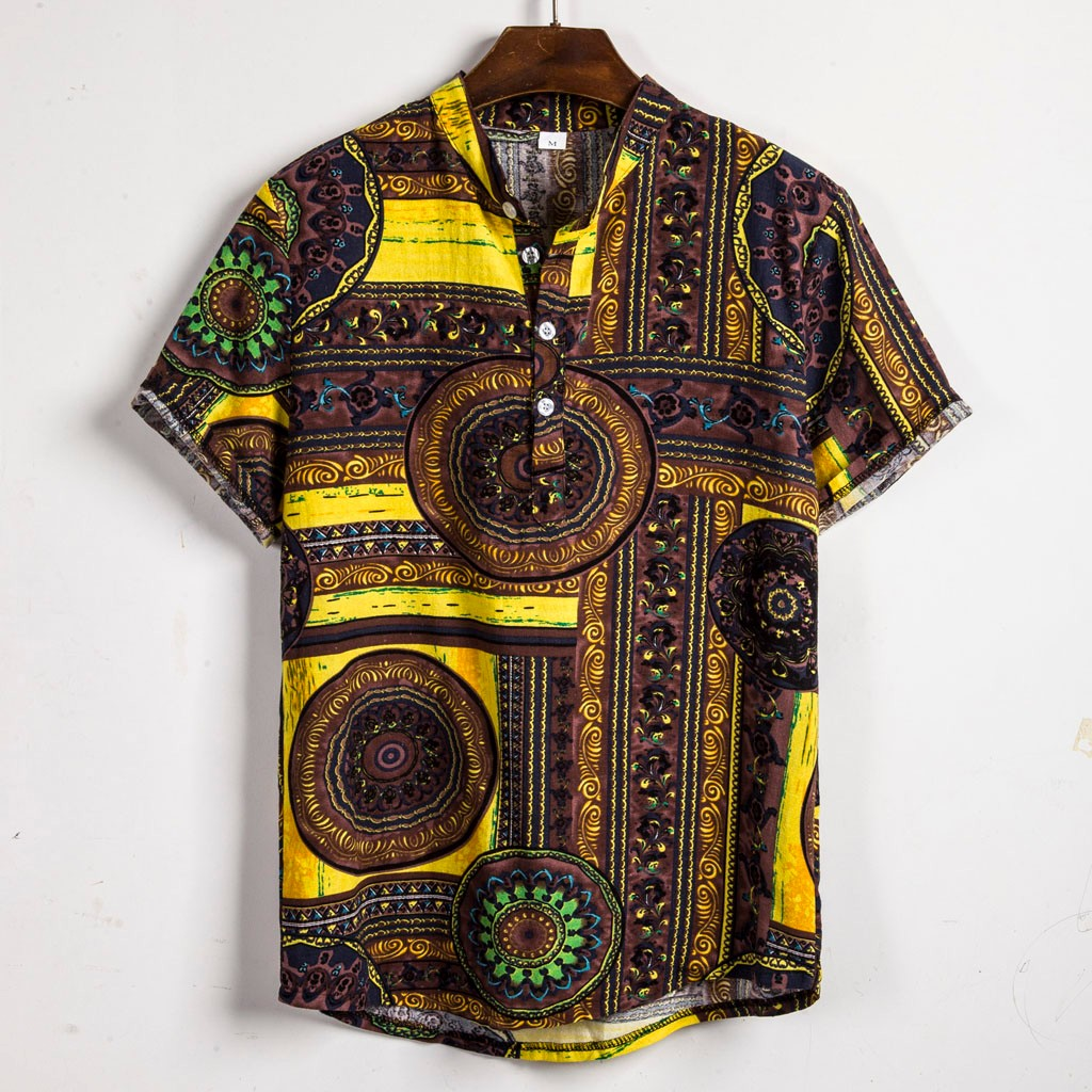 Mens Short Sleeve Print Shirt Plus Size Casual Stand Collar Button Loose Shirt