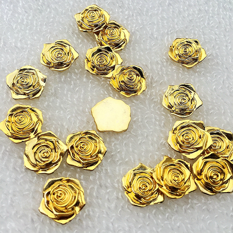 400pcs lot 14mm Golden Rose Flower 3D Plastic Flatback Buttons Decoration Sewing Accessories S661 10 in Rhinestones from Home Garden