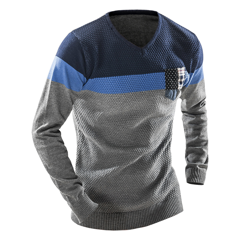 2018 Sweater Stylish Knitted Long Sleeve Stitching V-Neck Pullover Sweaters Men Leisure Sweater Male Sweaters Pullover