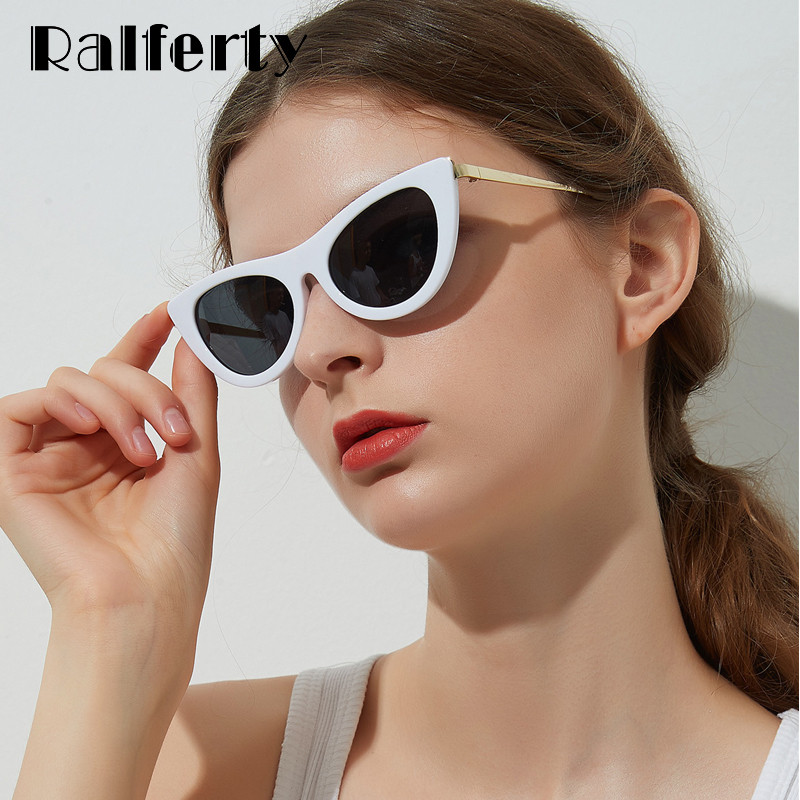63816a2b7abe Ralferty Vintage Cat Eye Sunglasses Women Retro White Frame Sunglases Cateye  Sun Glasses Female Eyewear Glases