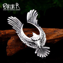 BEIER Stainless steel for men Takahashi Flying Eagle Pendant Necklace Wallet Connector Charm Chain fashion Gift jewelry BP8-444(China)