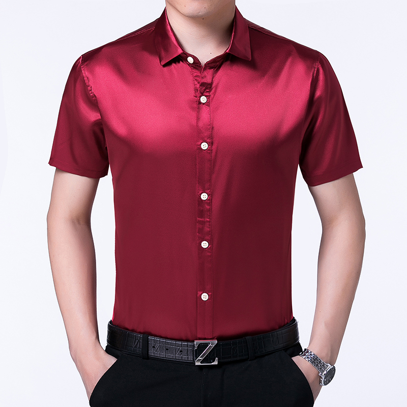 High Quality Summer Mens Satin Silk Shirts Pure Color Male Casual Satin Dress Short Sleeve Silk Dress Shirts