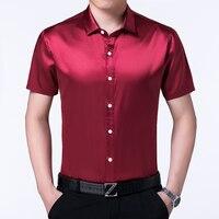 Hoge kwaliteit zomer heren satijn zijde shirts pure kleur mannelijke casual satijnen jurk korte mouw zijden jurk shirts