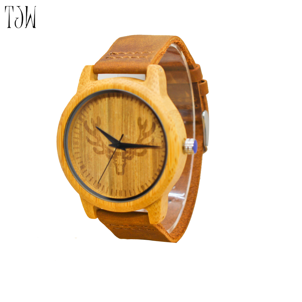 TJW Wooden watch Hot Selling Fashion Wood Watch Natrual Bamboo Wrist Watch With Genuine Leather Bracelet Men Clock Women Gift
