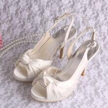 Пользовательские Ручной Работы На Высоких Каблуках Сандалии Женщин Slingback Свадебная Обувь с Платформы Размер 34 Падение Корабля
