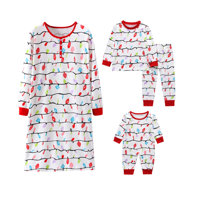 Family Christmas Pajamas Set Warm Family Look Baby Kids Girls Mommy Sleepwear Nightwear Mother Daughter Family Matching Clothes