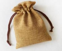 Denara Amat this flax bag,100pcs 14x19cm 16x19cm print in brown as the rope