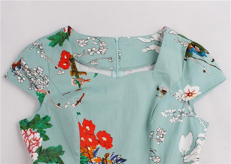 Kostlish Brand 2017 New Summer Dress Women Short Sleeve Slim 50s 60s Vintage Dress Elegant Print Swing Rockabilly Party Dresses (20)