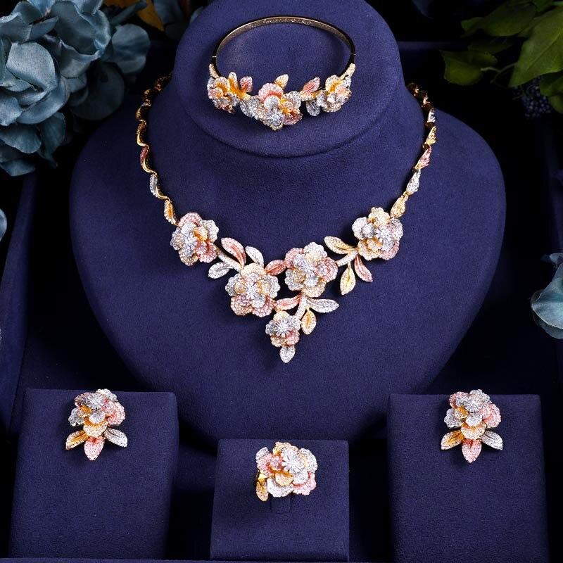 Accking Nuptiale De Luxe cube zircon collier boucle d'oreille bracelet bague 4 pièces Fleur Gros Ensembles De Bijoux De Mariage
