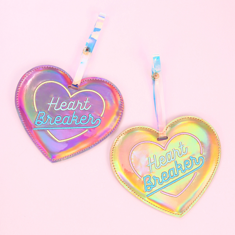 Leather Travel Luggage Tags Holder Hologram Heart Label Straps Suitcase Tags For Travel Accessories Student Bus Card Cover