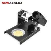 NEWACALOX herramienta de reparación de soldadura de hierro soporte de estación Base de placa de acero de Metal con herramienta de soldadura de esponja de limpieza
