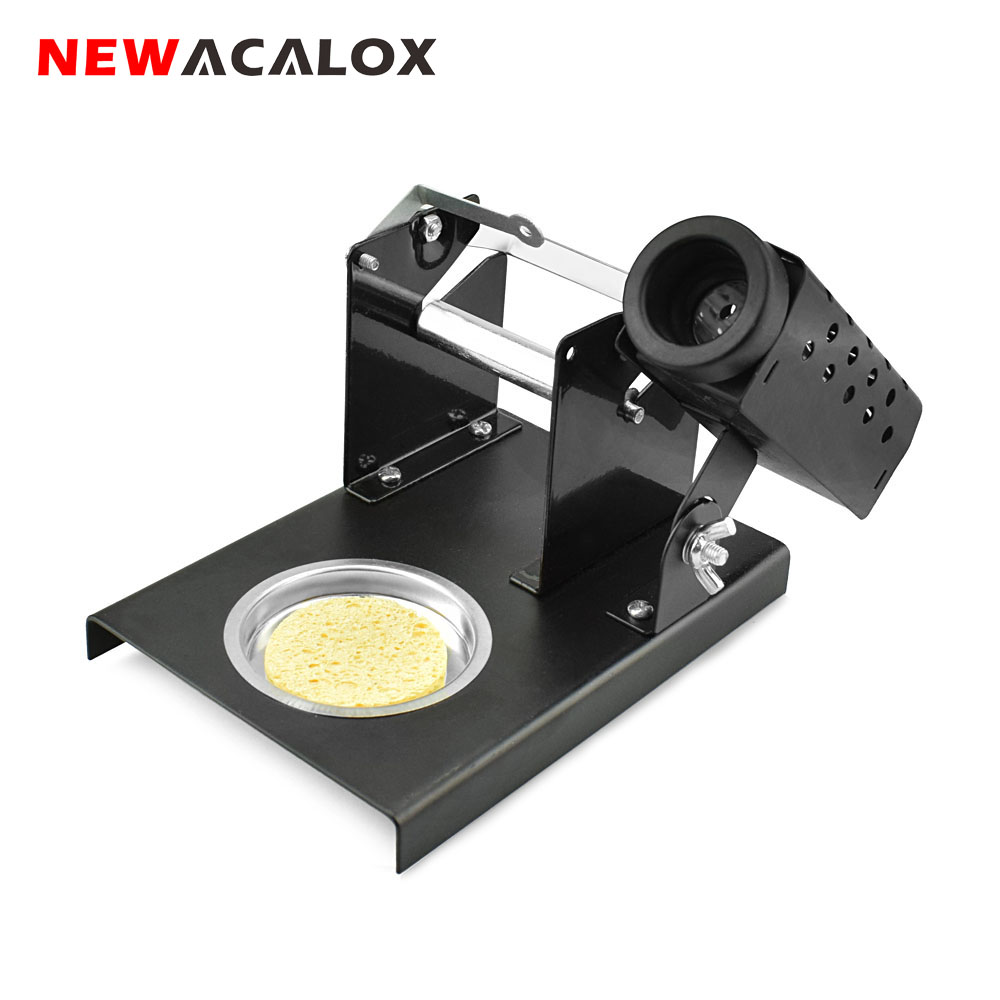 NEWACALOX Repair Tool Soldering Iron Stand Holder Support Station Metal Steel Plate Base With Cleaning  Sponge Soldering Tool