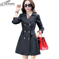 OKXGNZ 2017new Spring Women Trench Coat Elegance Fashion Big Yards Double Breasted Long Sleeved Dress Coat