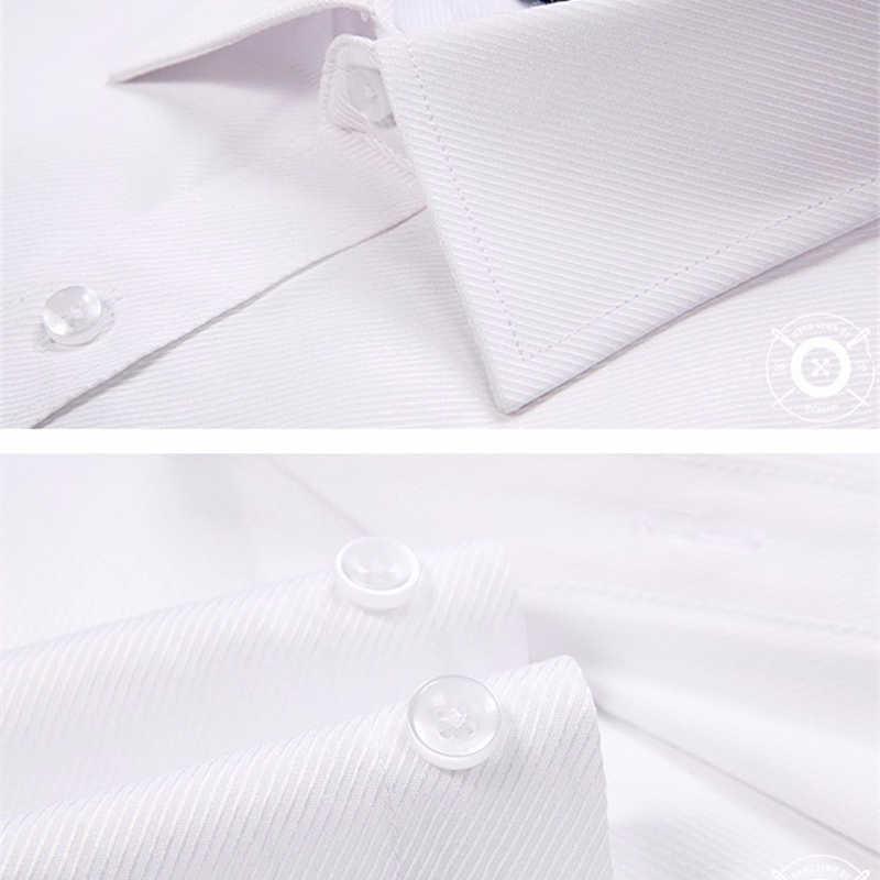 プラスサイズ 4XL 2019 純色メンズドレスシャツスリムフィットシャツファッションビジネス通常服男 YN264
