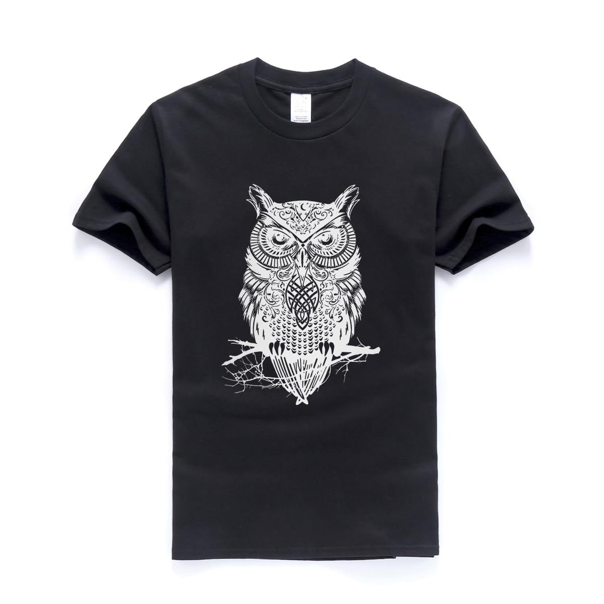 animal t shirt 2018 summer 100% cotton short sleeve t-shirt owl printed tops tees men funny t-shirt casual tshirt brand-clothing