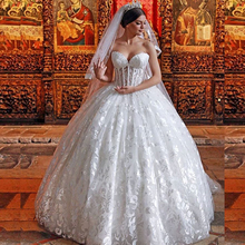 See Through Sweetheart Corset Top Lace Puffy Ball Gown Wedding Dress 2017 Bridal Dress