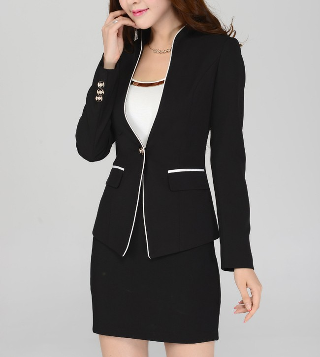 (blazer + Skirt) 2015 Su Ordine Della Signora Gonna Giacca E Cravatta Cappotto Nero + Minigonna One Button 4xl Ol Blazer Suit Vari Stili