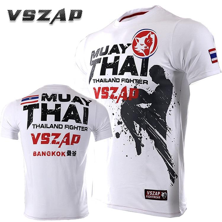 VSZAP Thailand THAI Boxing MUAY THAI Training Top Combat Flying Knees T-shirt Fight MMA Man Tshirt