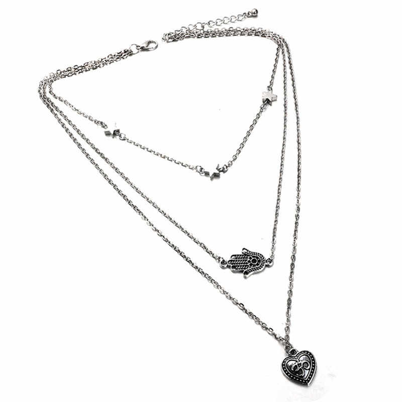 RAVIMOUR Collane Donna Đồ Trang Sức Boho Choker Antique Bạc Love Heart Tay Palm Statement Necklaces cho Phụ Nữ Bohemian Collares
