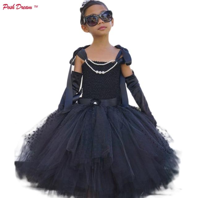 Posh Dream Black Pearls Audrey Hepburn Cosplay Dress With Gloves