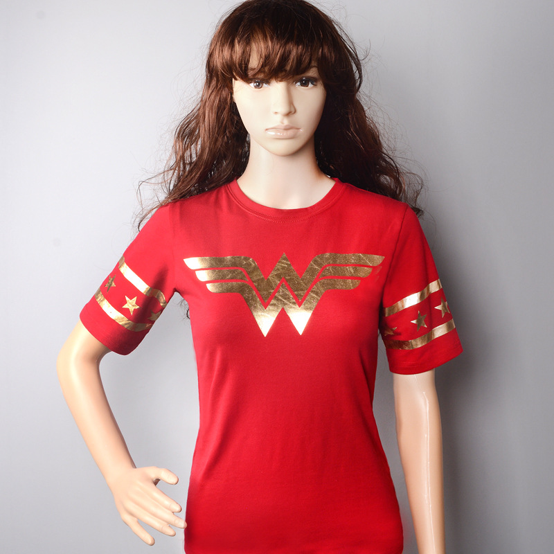 New Arrival Movies Wonder Woman O-neck T-shirts Gold Foil Striped Sleeves Cotton Tops
