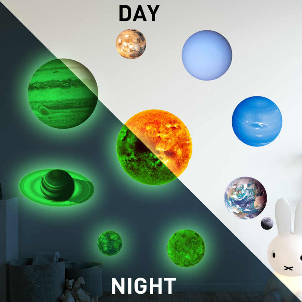 10 pcs Planets DIY Wall Sticker PVC Luminous Solar system Planet Glow In The Dark Wall Decal Kids Room Home Decor #sx