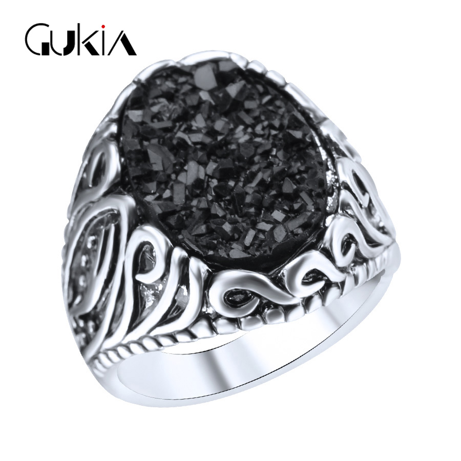 gukin retro black ring classic medieval style punk rock mens big rings free shipping 2016 new ring big size 11 - Medieval Wedding Rings
