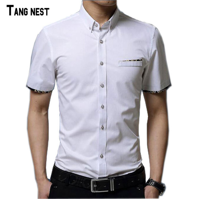 Verão Camisas Casuais 2017 dos homens Novos da Forma dos homens Casuais Camisas de Negócios Slim Fit Curto-de mangas compridas Sólida Masculino Camisas de verão MCS602