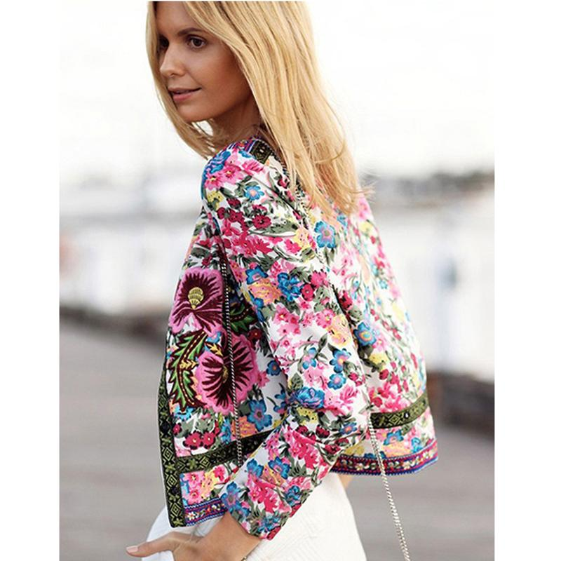 Autumn Ladies Ethnic Printed Floral Embroidery Short Jackets Opened Sting  Women Long Sleeve Outwear Coat Jacket 2017 DP666995-in Basic Jackets from  Women's ...