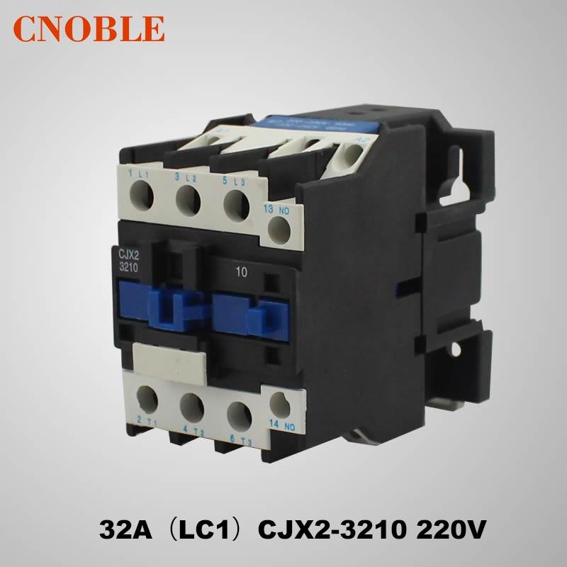 AC contactor 32A (LC1) CJX2-3210 220V Coil Voltage Silver Contact free shipping superior quality contactor cjx2 0910 9a ac 220v 3p no contactor cjx2 09 lc1 d09 series 220vac ac contactor