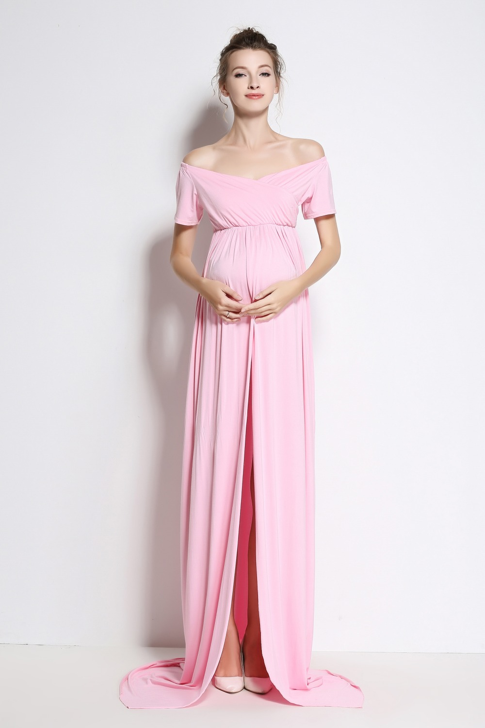 2017 New Cotton Maxi Maternity Dress Summer Clothes For Pregnant Women Long  Dresses For Photography Shoot
