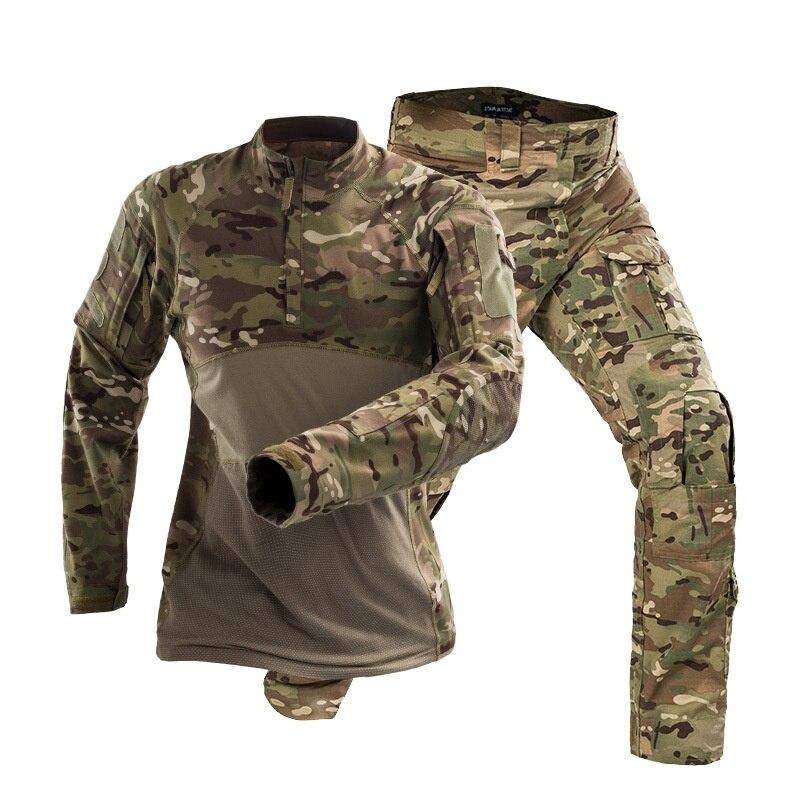 Camouflage Military Army Tactical Uniform Set Multicam Black Combat Shirt BDU Pants Men Hunting Clothes Airsoft