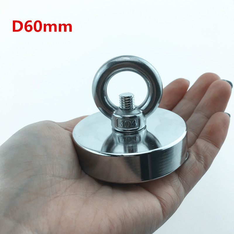 1pc D60mm Pulling Mounting strong powerful neodymium salvage Magnets Pot with ring fishing gear, sea salvage equipments zhangyang 120kg pulling mounting d60mm strong powerful neodymium magnetic pot with ring fishing gear deap sea salvage equipment