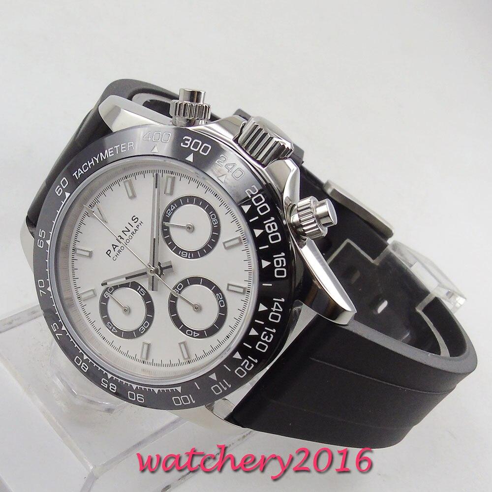 39mm PARNIS cadran blanc saphir verre chronographe bracelet en caoutchouc mouvement à Quartz montre pour hommes