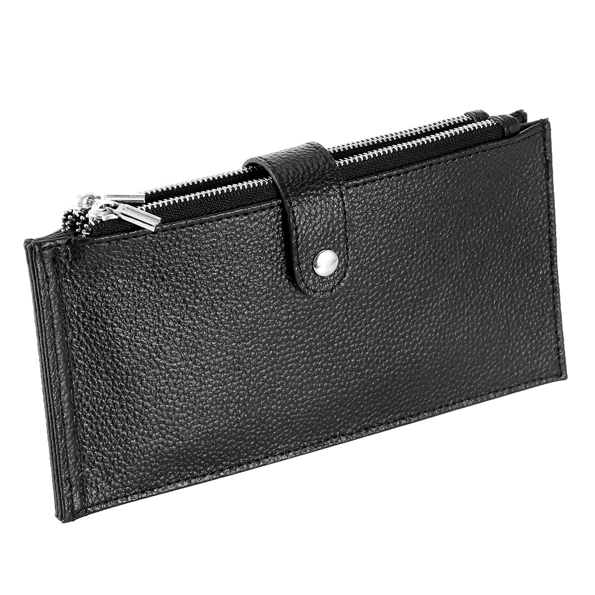 Genuine Leather Checkbook Credit Card ID Lady 2 Zipper Coin Wallet ID US SELLER